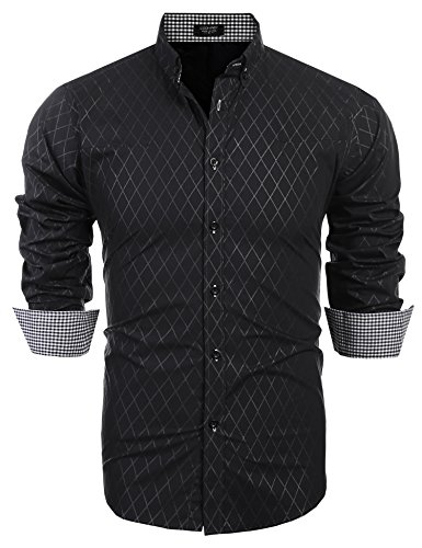COOFANDY Men's Business Stylish Slim Fit Long Sleeve Casual Dress Shirt (L, Black)