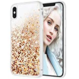 Maxdara Case for iPhone X iPhone Xs Glitter Case Liquid Flowing Luxury Bling Sparkle Glitter Shockproof Girls Women Case X XS 5.8 inches (Gold Silver)