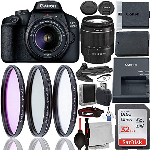 Canon EOS 4000D DSLR Camera with 18-55mm III Lens & Starter Accessory Bundle –...