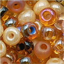 Czech Seed Beads 6/0 'Autumn Leaf' Mix Beige Brown (1 Ounce)