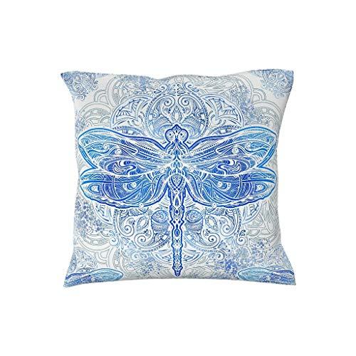 EUNNT Kissenbezug 100% Baumwolle Kissen Fällen Quadratisch Dragonfly Bett Decorr