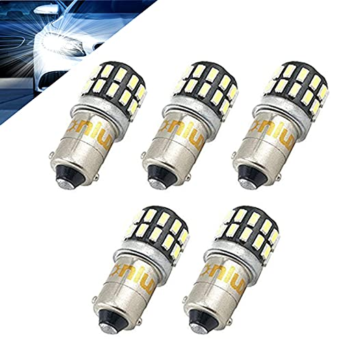 Bonlux 5-packs 3W 12-24V BA9 BA9s LED Luz H21W 1445 1895 6253 64111 64113 T4W 6000k coche LED luz bombilla para luz de placa separación señal cortesía lectura