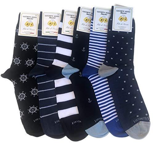 Lucchetti Socks Milano 6 paia calze uomo CORTE cotone filo di scozia elasticizzato estive in fantasia (Set Amerigo)