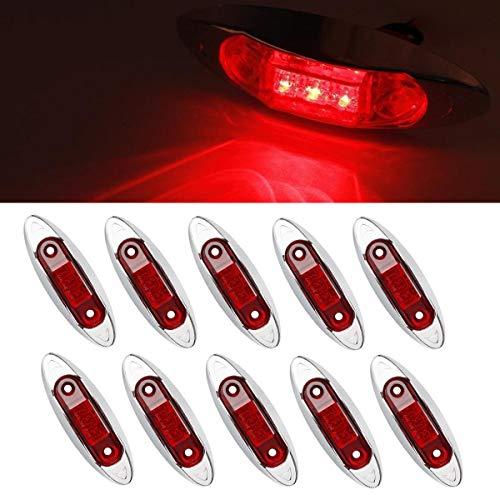 GOFORJUMP 10 PCS Rouge Étanche Marqueur De Lumières De Liquidation Lampe Remorque Camion Bus Voiture 3 LED 12V 24V