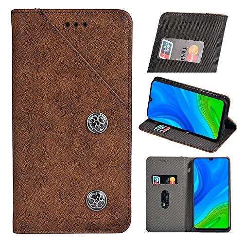 BellaHülle Alcatel 3X 2020 Handyhülle Hülle Leder Flip Hülle [Kartenfach] [Standfunktion] [Magnetschnalle] Wallet Cover für Alcatel 3X 2020 Smartphone(Braun)