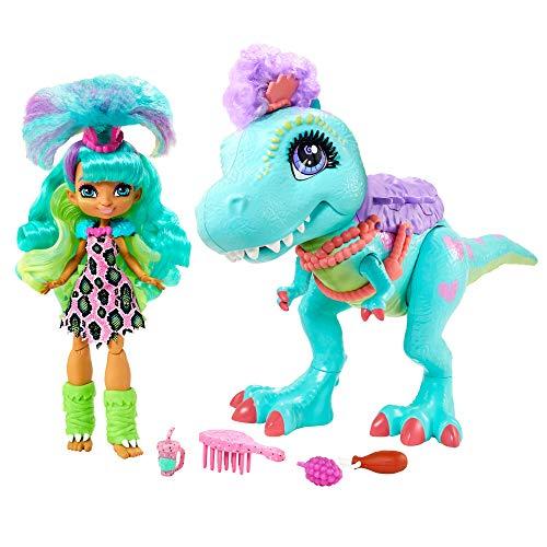 Cave Club coffret poupée préhistorique Rockelle et son T-Rex de 55 cm aux mâchoires articulées, accessoires inclus, jouet pour enfant, GTL69