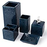 Homestyle 5-Piece Bathroom Decor Countertop Accessory Set - Stylish Soap Dispenser, Toothbrush Holder, Tumbler Cup, Toilet Brush Holder & Soap Dish - Beautiful Patterns for Home Decor (Navy Blue)