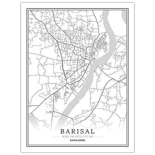 Bilder Auf Leinwand,Barisal Map Poster Print, Bangladesh City Druckt Kunstwerke, Moderne Minimalistische Schwarz-Weiß-Wandkunst Leinwandbilder Für Nordische Heimdekorationen Wanddekoration, 30 Cm X