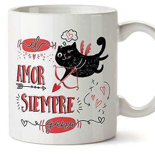 MUGFFINS Taza San Valentín (Te quiero) - Amor siempre gana - Regalos Originales y Divertidos de Aniversario para Novios, Enamorados, Pareja.