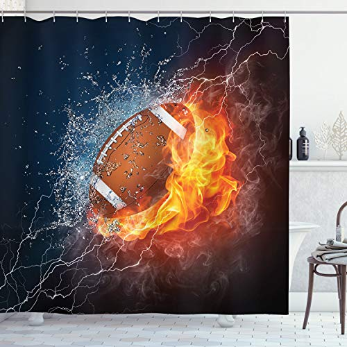 "Ambesonne Sports Shower Curtain, Football and Water Splashing Thunder Bolt Abstract Conceptual Art Design, Cloth Fabric Bathroom Decor Set with Hooks, 70"" Long, Multicolor"