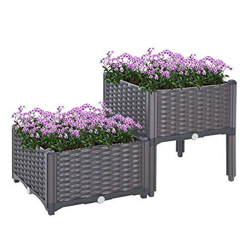 Outsunny Conjunto de 2 Macetas Cuadradas Jardinera para Flores y Vegetales con Agujeros de Drenaje y Patas Altas 40x40x26/44cm