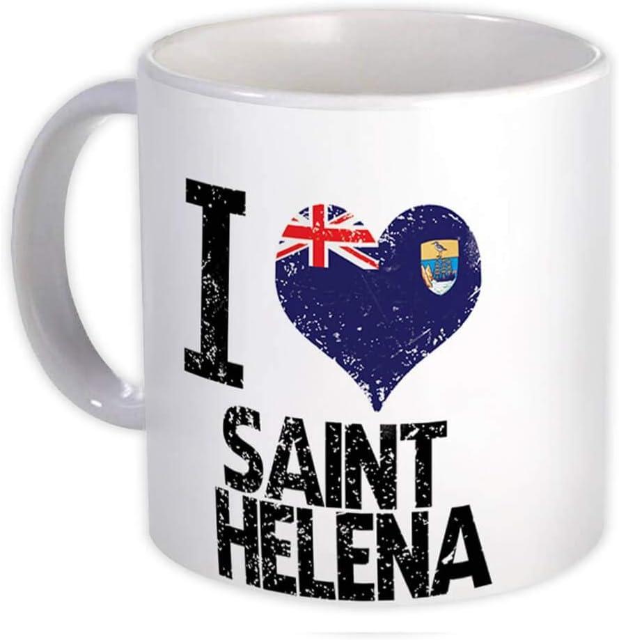 Amo a santa elena : Taza de Regalo : Expatriado de escudo de país de bandera de corazón