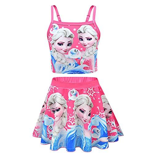Suyaluoi ELSA - Bañador para niña de verano, ropa de baño, ropa de playa, fiesta acuática, 2 unidades, Rosa 1, 9-10 Años