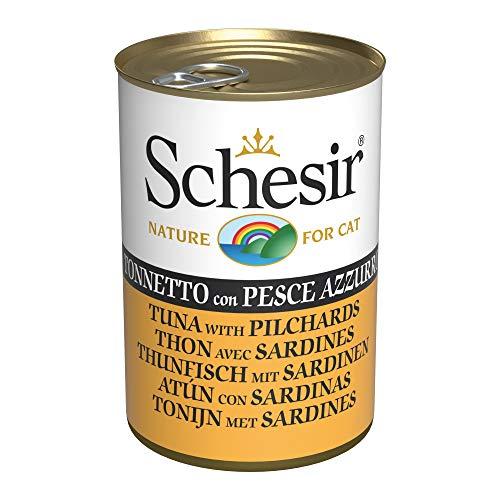 Schesir, Comida húmeda para Gatos Adultos, Sabor bacoreta con Pescado Azul en gelatina Blanda - Total 3,36 kg (24 latas x 140 gr)
