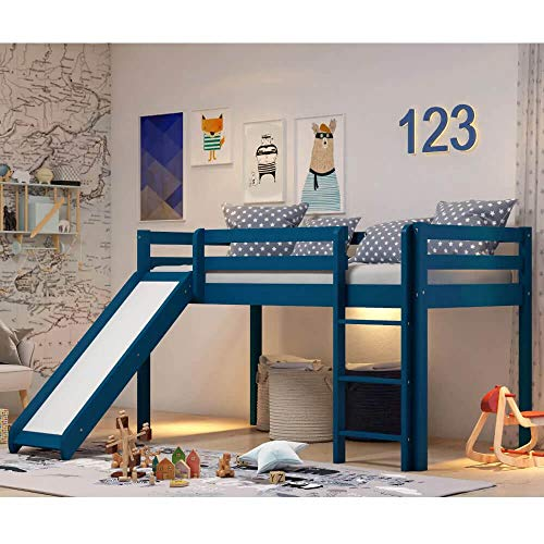 RED Blue Cama de Madera Infantil Individual con resbaladilla Azul