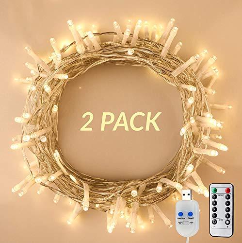 KooPower 2Stk 120LED USB-Betriebene Lichterkette mit Timer und Fernbedienung, 8 Modi Dimmbare Lichter für Garten,Schlafzimmer,Weihnachten,Heimwerken,DIY,Festdekoration (Warmweiß)