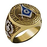 Handcrafted Square And Compass Masonic Blue Stone Free and Accepted Masons Ring Yellow Version 18k Gold Pld BR-18 (9)