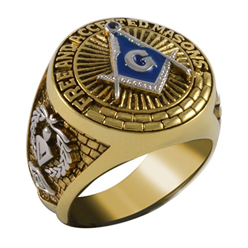 Handcrafted Square And Compass Masonic Blue Stone Free and Accepted Masons Ring Yellow Version 18k Gold Pld BR-18 (8.5)