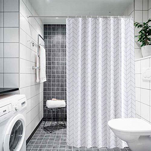 Trimming Shop Duschvorhang Polyester-Gewebe-Badezimmer-Vorhang mit 12 Vorhängehaken Wasserdichter Bad 180cm x 200cm Langer Duschvorhang-Einsatz waschbar, Geometrische Pfeile