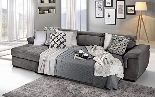Dafne Italian Design Sofá cama esquinero de 3 plazas con chaise longue a la izquierda. Tejido Romeo gris Londres (287 x 176 x 96 cm)