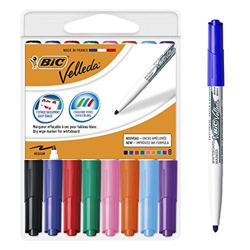BIC Velleda Rotuladores de Pizarra Blanca, Colores Surtidos, Punta Media, Material Oficina, Caja de 8
