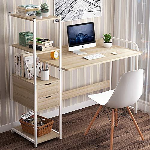 Computer Desk Mit 2 Schubladen,Modernen Schreibtisch Mit Bücherregal,L Shaped Pc Laptop Tisch Robuster Office Desk Workstation Für Hause