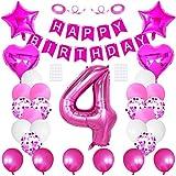 Huture 4 suministros fiesta cumpleaños rosa rojo número 4 globo papel aluminio Happy Birthday Banner Kit 4th decoración látex blanco confeti globo aluminio estrella corazón globo regalo para niñas