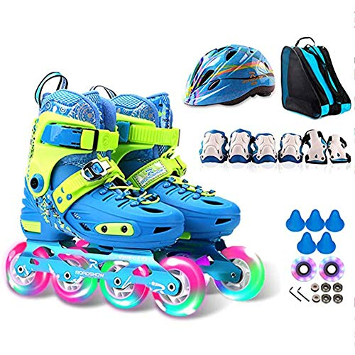 BHHT Inline Skates for Kids Roller Blades Adjustable with Flashing Light Up Wheel Best Gift for Children's (with Helmet Protective Gear) Skates Boots (Color : Blue, Size : S(28~31EU))