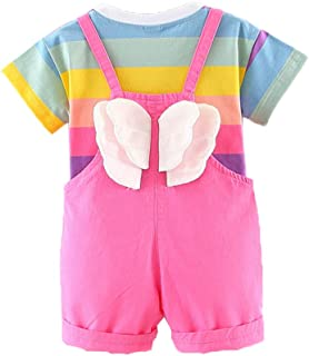 Peacolate Babygirl's Summer Candy Color T-Shirt Strap Overalls Jeans 2Pcs Clothing Suits