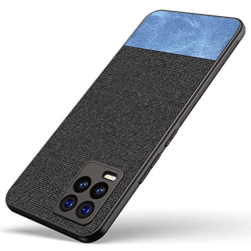 Kapa Soft Fabric & Leather Hybrid for Realme 8 PRO/Realme 8 (4G) Back Cover, Shockproof Protection Slim Hard Back Case (Black, Blue)