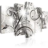 5 pcs Flower Canvas Wall Art Black and White Floral Print Painting Modern Decorative Diamond twig Artwork for Living Room Stretched and ready to hang (40'x20')