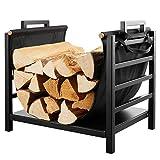 DOEWORKS 18 Inch Firewood Racks Fireplace Log Holder with Canvas Carrier