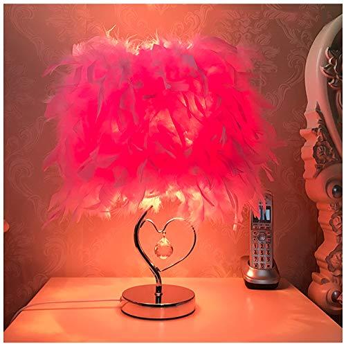 QWESHTU Feder Nachttischlampe, Nachttischlampe, Moderne Federtischleuchte, Schreibtisch Lampenschirm Schlafzimmer, Bar, Restaurant, Romantische Wohnkultur