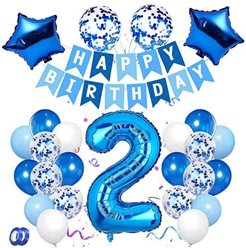 2 Anni Compleanno Decorazione, Blu Set di Palloncini Numero 2 Buon Compleanno Banner Palloncini in Lattice con Coriandoli in Lamina per Bambino Bambina