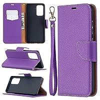 サムスンギャラクシーA52 5G、Lychee PUレザーウォレットケース、リップフォリオカードスロットキックスタンドケースサムスンギャラクシーA52 5G (Color : Purple)