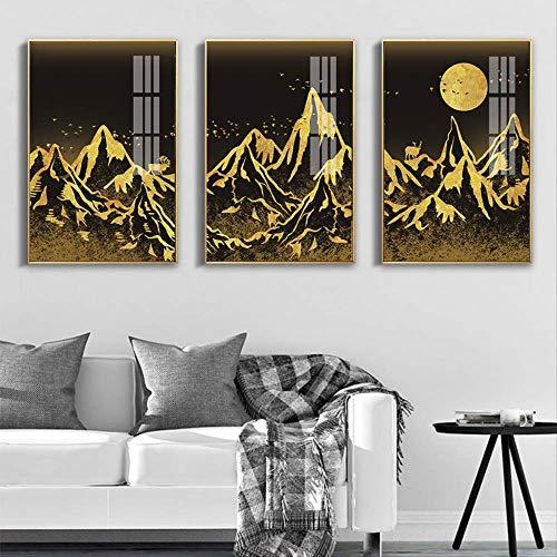 N/B DIY 3 Pinturas de Diamantes Gold Peak sartan Art Painting Modern Home Abstract Painting Colgante