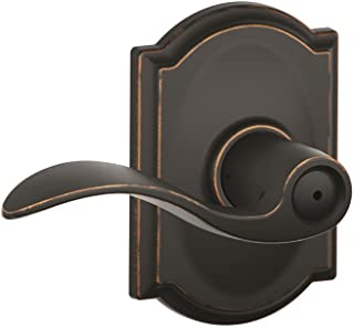 Schlage Accent Lever with Camelot Trim Bed and Bath Lock in Aged Bronze - F40 ACC 716 CAM