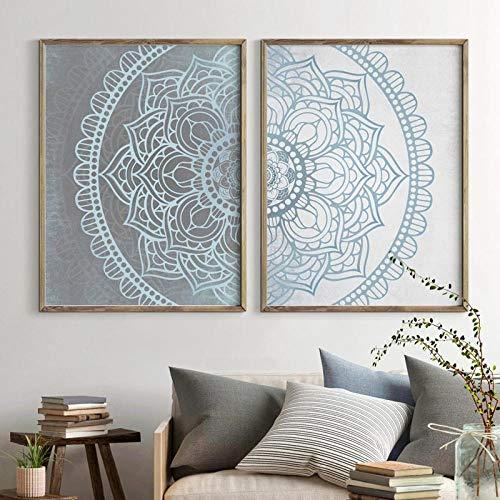 Mandala Arte de la Pared Lienzos Impresiones Gris, Azul Texturizado Vintage Fondo Pintura Cuadros de la Pared Decoración de la habitación del hogar-50x70cm Sin Marco