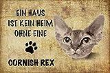 Blechschild 30x20cm Ein Haus ist kein Heim ohne eine Cornish Rex Katze Schild