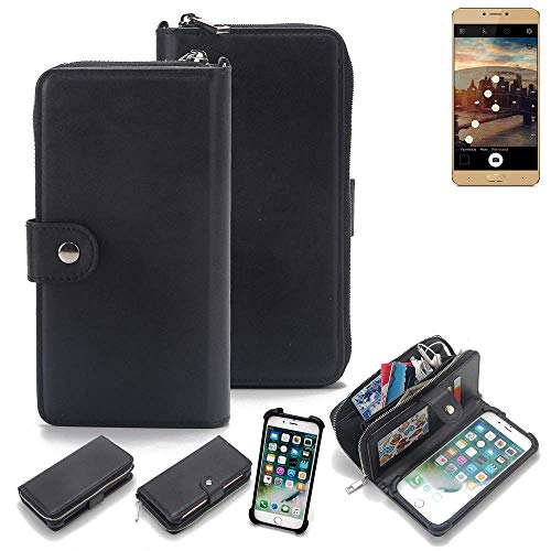 K-S-Trade® 2in1 Handyhülle Für Allview X3 Soul Plus Schutzhülle und Portemonnee Schutzhülle Tasche Handytasche Case Etui Geldbörse Wallet Bookstyle Hülle Schwarz (1x)