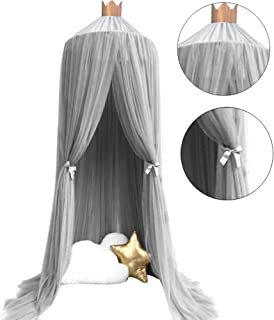OldPAPA Bed Canopy Mosquito Net Curtains for Children Bed Pink Toddler Chiffon Crib Canopy Princess Round Dome Tassel Playing Reading Tent Castle Decoration