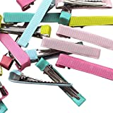 Chenkou Craft Assorted 40pcs Prong Hair Clips Hair Pin Covered Grosgrain Ribbon DIY Hair Jewelry Craft 2' (50x8 mm)