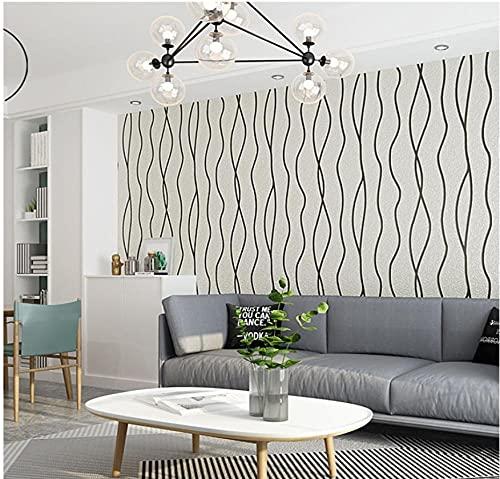 Papel pintado 3D Líneas curvas flocadas no tejido Papel pintado gris claro papel pintado de lujo Flocado para decoración de pared de dormitorio y hogar 0.53mx9.5m