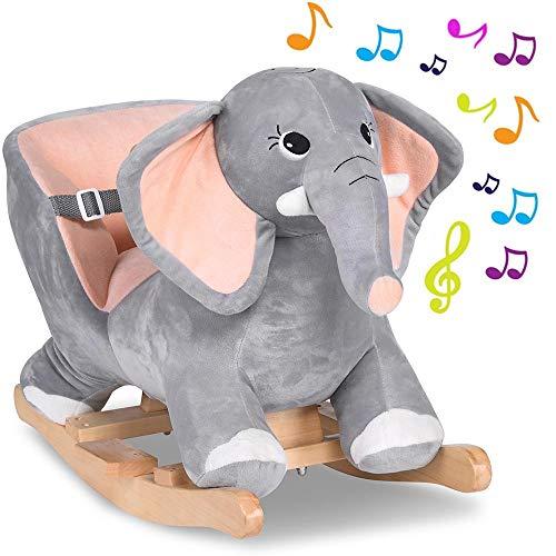 BAKAJI Elefante a Dondolo Cavalcabile Peluche Giocattolo per Bambini con Effetti Sonori Maniglie e Cintura di Sicurezza (Elefante)