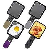 Zeewoo Mini Sartenes para Raclette, Accesorios para Raclette Grill, Revestimiento Antiadherente, Mango Anti-quemaduras de Color, 4 Pcs, 18x8x1.5cm, Acero Inoxidable, Negro