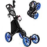 MOLANEPHY Golf Push Cart, 4 Wheel Golf Pull Cart -1 Click Folding Button, with Umbrella Drink Holder, Golf Accessories for Practice and Game (No-Umbrella)