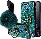 Herbests Compatible para Huawei Honor V20 / Honor View 20 Funda de Silicona Ultrafina con Soporte Anillo Purpurina Diamante Rhinestone + Hairball Estuche Antichoque Anti-Scratch Cover,Verde