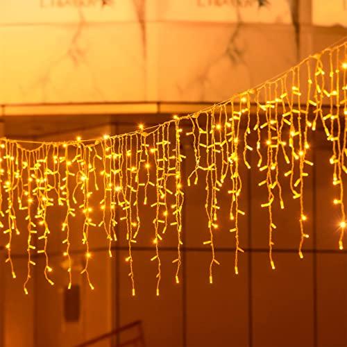 200 LED 5M Tenda Luminosa Natale,Cascata Luci Esterna Interno di Natale IP44 Impermeabile con 8 Modalità Tenda Luminosa Esterno Tenda di Luci per Natale, Festa,Giardino e Matrimonio