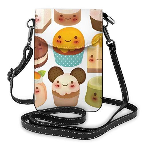 Jiger Women Small Cell Phone Purse Crossbody,Chubby Kawaii Baked Goods With Smileys...