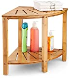 Bambüsi Premium Bamboo Corner Bench - Wood Spa Stool Bench with Storage Shelf for Bathroom Organization - Perfect for Indoor or Outdoor